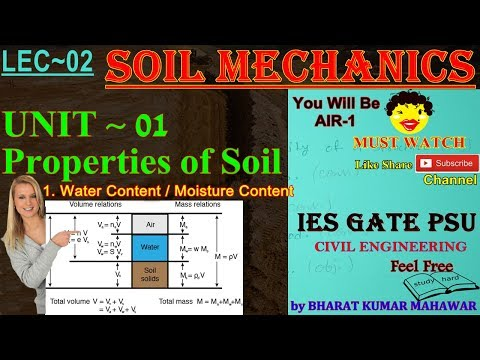 Soil Mechanics~Lec 02~U1~Properties of Soil (Water & Moisture Content)by Bharat Kumar Mahawar