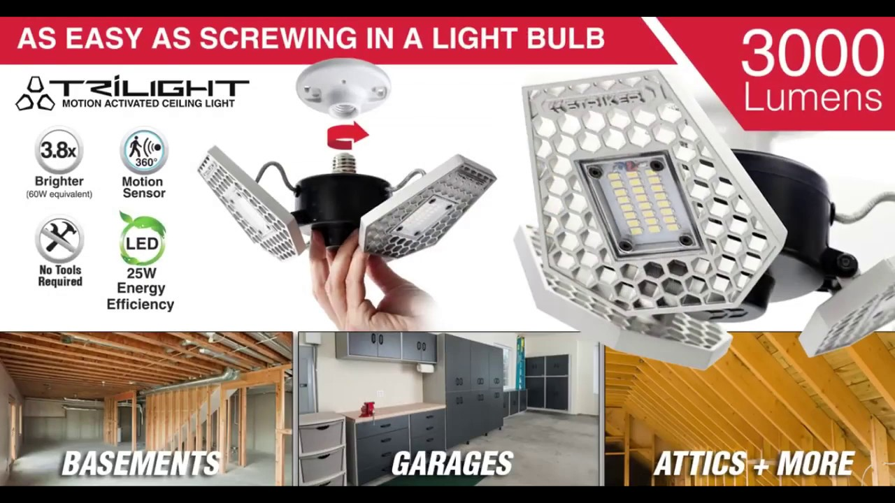 TRiLIGHT // Screw-In Motion-Sensor Ceiling Light // 4000 Lumens video thumbnail