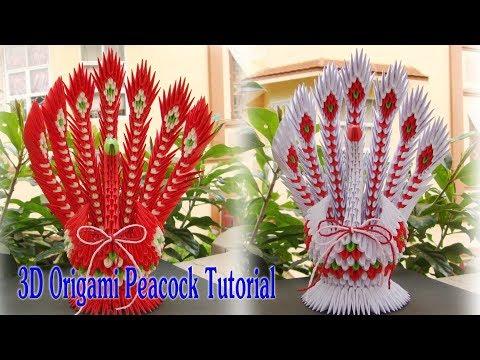 3D ORIGAMI PEACOCK V2 TUTORIAL | Tutorial 3d pavo real de origami