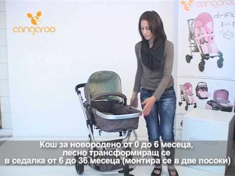 Cangaroo Комбинирана количка Sarah Розова #khA1Zp1tjQQ