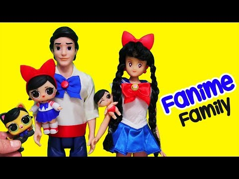 Barbie LOL Families ! The Fanime Family Looks Like Sailor Moon | Toys and Dolls Play for Kids
