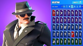 *UPDATED* Fortnite Noir Skin Outfit Showcase with All Dances & Emotes