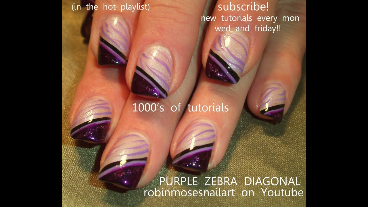 Nail Art For Beginners - Diagonal Zebra Print Design - YouTube