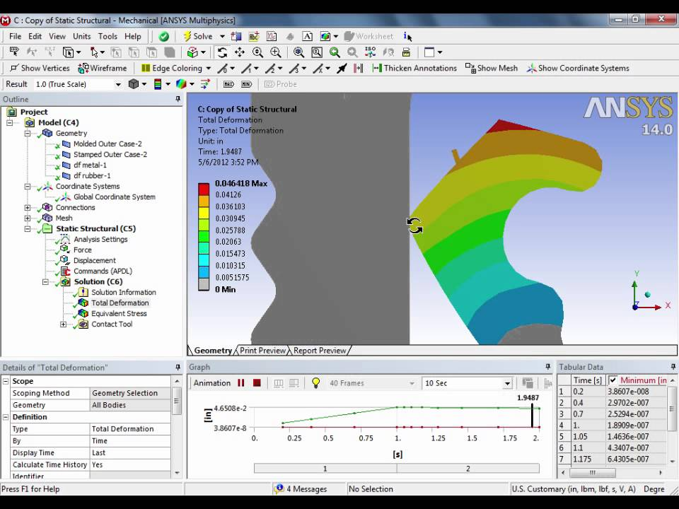 ANSYS Hyperelastic Example with Material Property Definition