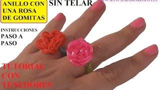 Repeat youtube video COMO HACER UN ANILLO CON UNA ROSA DE GOMITAS SIN TELAR, CON DOS TENEDORES, TUTORIAL DIY