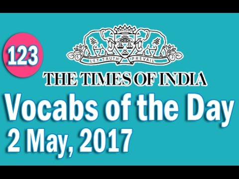 The Times of India Vocabulary (2 May, 2017) - Learn 10 New Words with Tricks | Day-123
