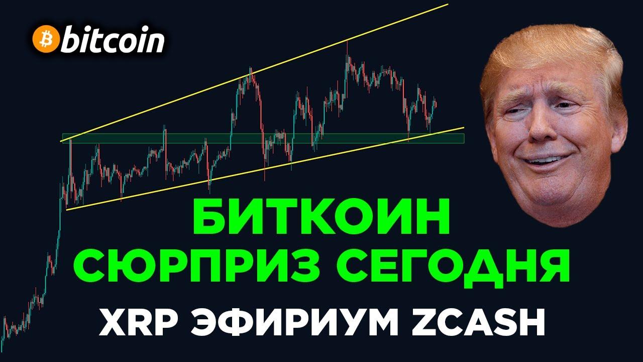 БИТКОИН ПРОГНОЗ - СЮРПРИЗ СЕГОДНЯ! ЭФИРИУМ, XRP И ZCASH ОБЗОР! Криптовалюта и Фондовый рынок!