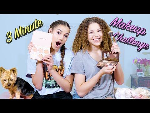 3 Minute Makeup Challenge | Haschak Sisters