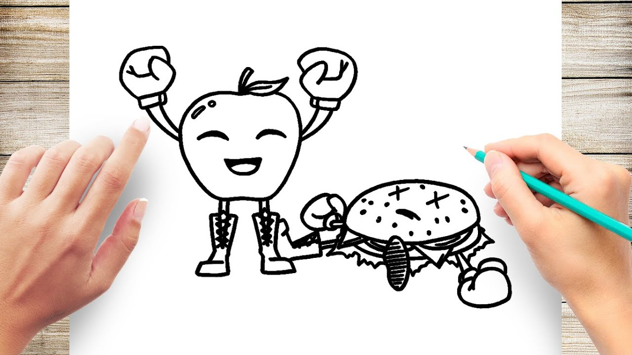 How To Draw Healthy Food And Junk Food Youtube