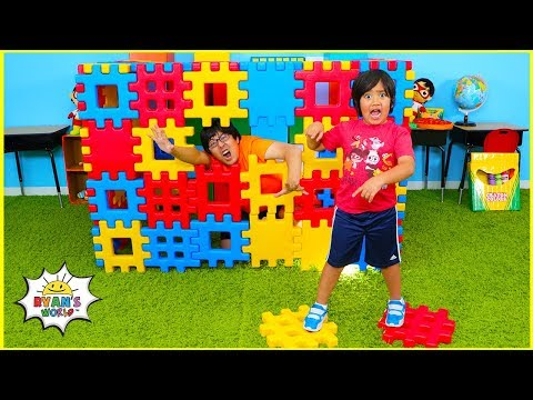 Ryan Pretend Play with Building and Stacking Colored Toy Blocks!!!