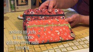 In The Hoop Quilted Zipper Bag Tutorial