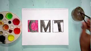How to draw the CMT tv channel logo with watercolors
