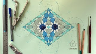 Timelapse drawing of a Moroccan geometric pattern with ruler and compass