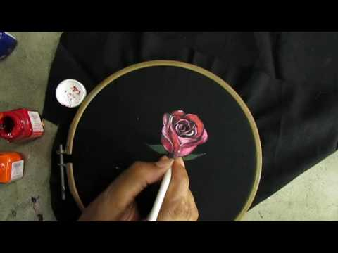 Fabric Painting Rose Painting/Fabric Painting Course part 19 of 25