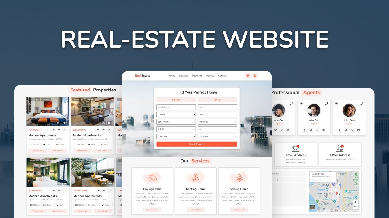 How To Make Complete Responsive Real-Estate Website Design Using HTML, CSS  & Javascript