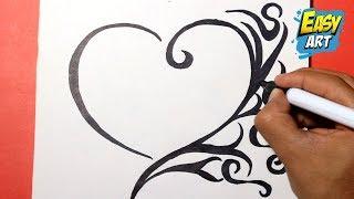 how to draw a heart -   como dibujar un corazon