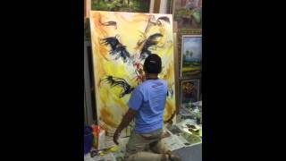 (Vivi Ardiani, 081221433832) Fighting Roosters, Oil Painting Techniques Demonstration by Windu Pamor