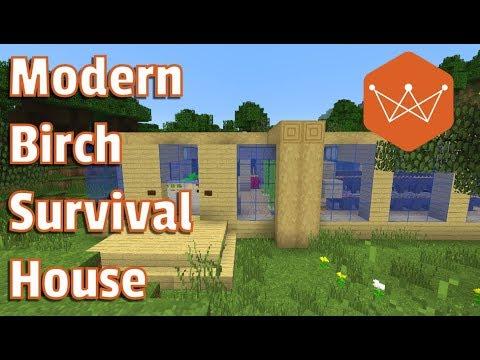 Modern Birch Survival House Minecraft Tutorial