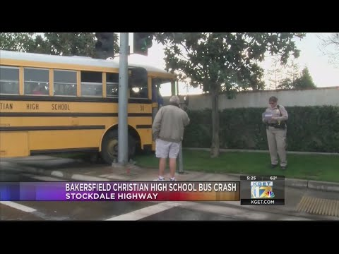 Bakersfield Christian High School bus hit a pole