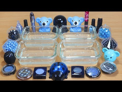 Slime Black vs Light Blue Mixing makeup Glitter and beads into Clear Slime