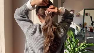 데일리 니트룩 묶음머리 셀프스타일링 초간단 머리끈스타일…