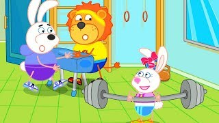 Lion Family Who is the strongest in the Gym Cartoon for Kids