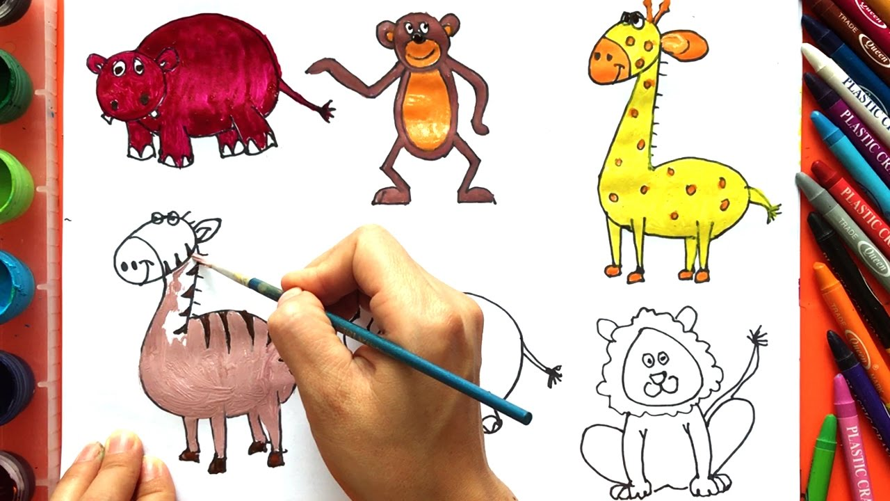 How to draw wild animals how to draw and paint with water color learning animals colors for kids