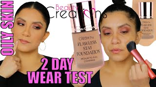 BEAUTY CREATIONS FLAWLESS STAY FOUNDATION + 2 DAY WEAR TEST | OILY SKIN | MagdalineJanet