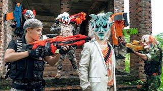 GUGU Nerf War : CID Dragon Nerf Guns Fight Criminal Group SKMAN Mask Raid Swat House