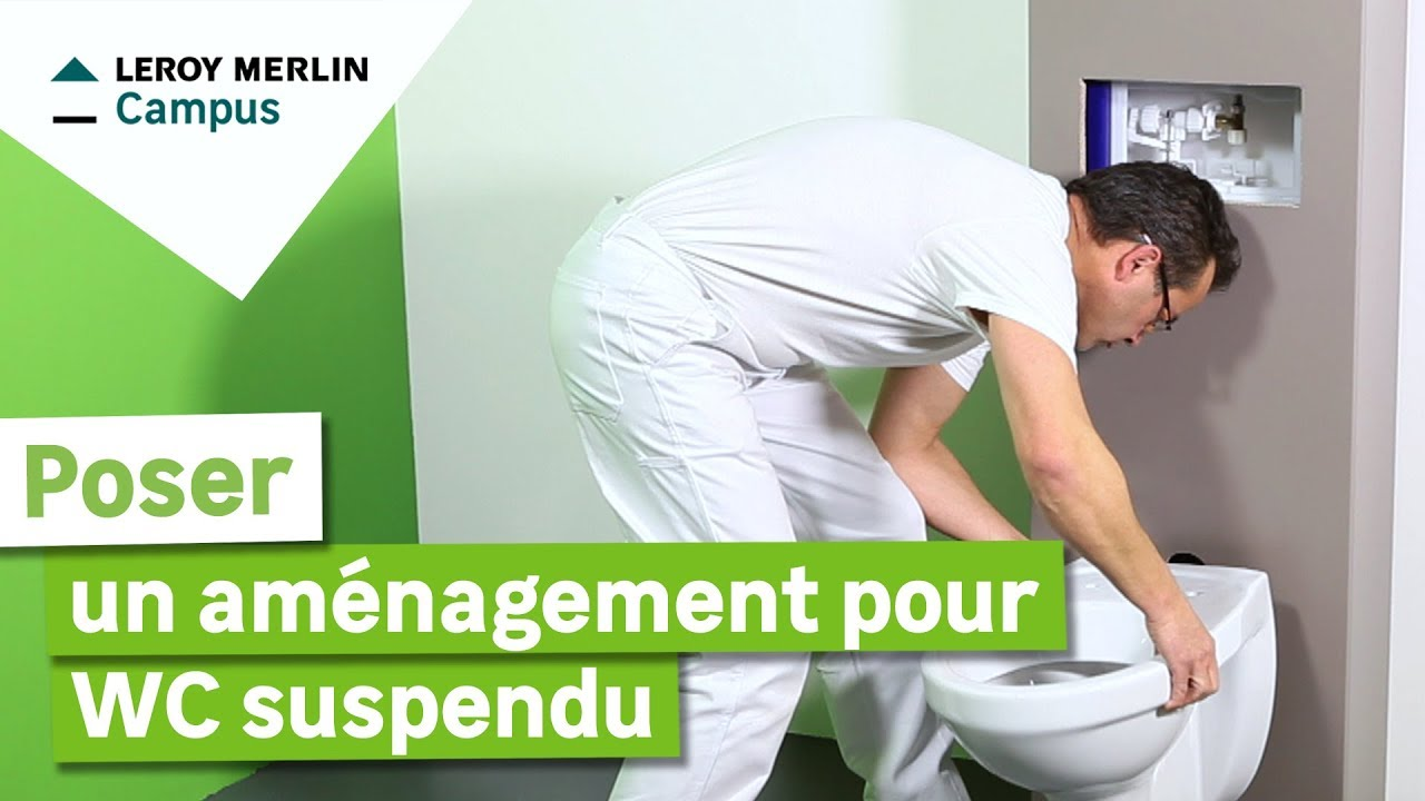 Comment poser un am nagement pour wc suspendu leroy merlin youtube for Amenagement toilette
