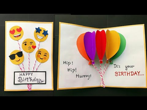 Handmade Birthday Card Balloon Pop Up Greeting Ideas Cute