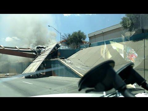 Semi Truck Goes Airborne Over Utility Bridge || ViralHog