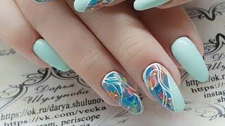 дизайн ногтей весенние цветы. дизайн ногтей гель лаками с AliExpress. нежный дизайн ногтей. Цветы.