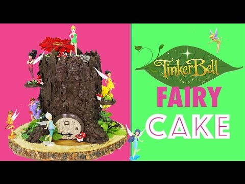 tinkerbell-fairy-cake---how-to-make-a-tree-stump-cake-with-tinker-bell-fairies