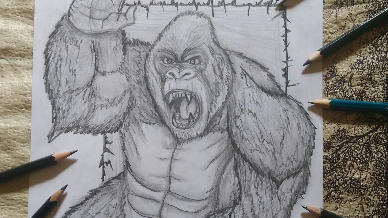 Pencil Drawing Of Gorilla George From Rampage Movie Youtube