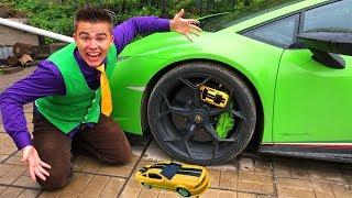 Mr. Joe on Lamborghini Huracan VS Toy Car in Wheel Car & Grew Up in Chevrolet Camaro for Kids