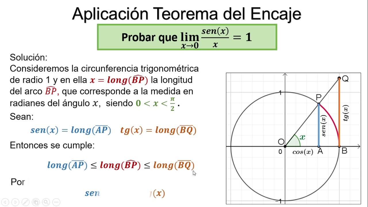 Aplicación Del Teorema Del Encaje Propiedad Del Límite De La Función Seno Youtube