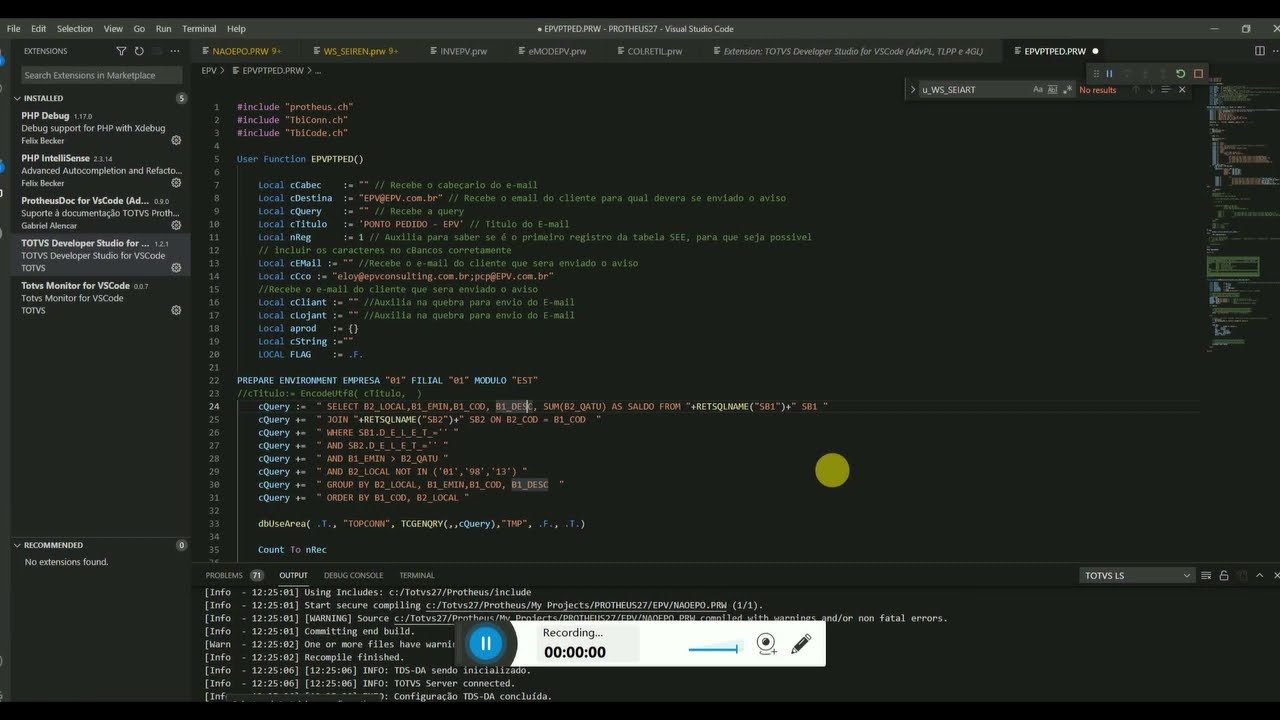Debbugar no VsCode sem precisar abrir o Protheus.