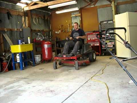 Z-turn lawnmower wheelies