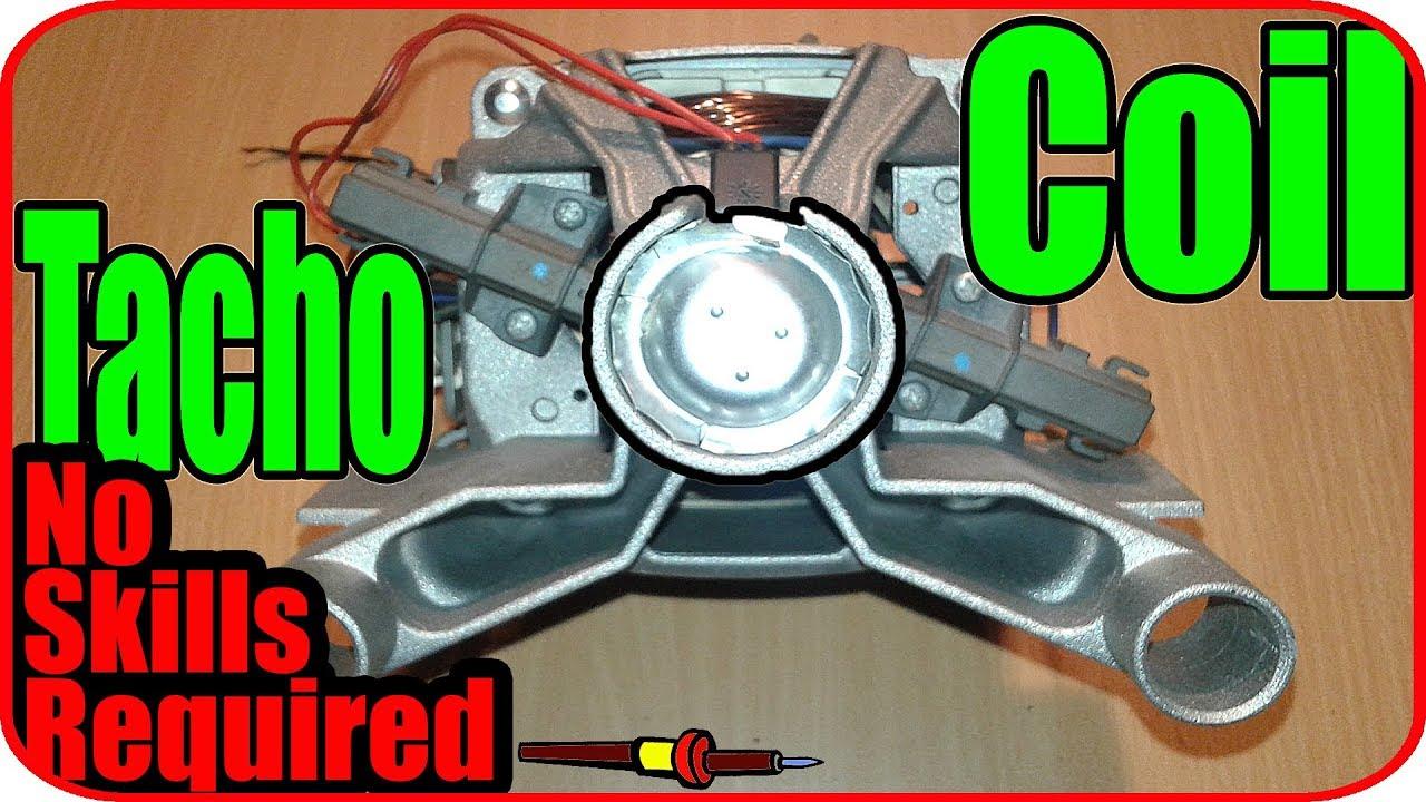 Washing machine motor tachometer coil on