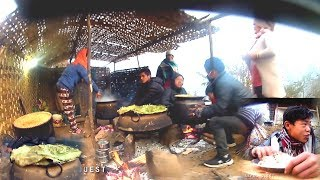 Village Biggest Kitchen || Mega Kitchen of  wedding Party  into Himalayan rural village of Nepal