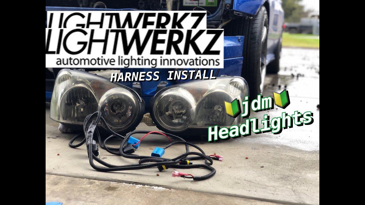 lightwerkz jdm wrx sti hid headlight wiring harness install [ 1280 x 720 Pixel ]