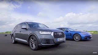 Drag Race! Audi SQ7 Vs Porsche Panamera | Top Gear