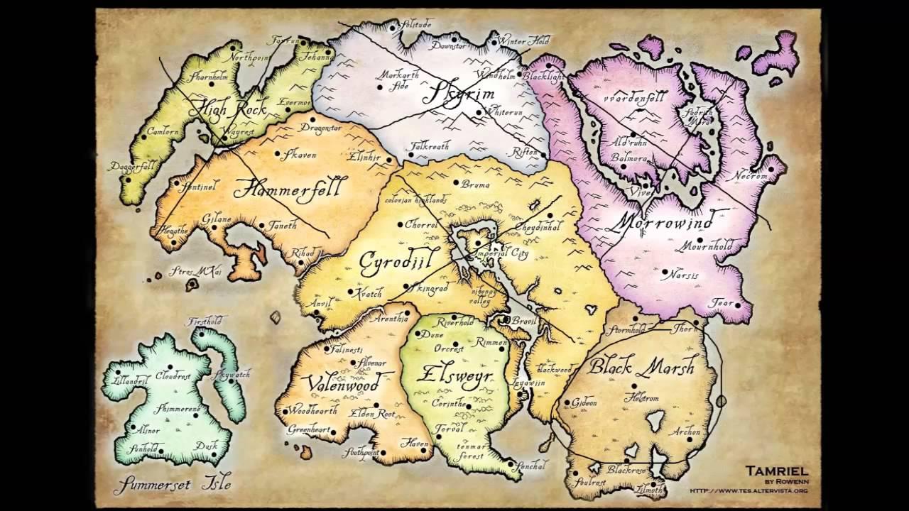 map-tamriel, perkiraan lokasi the elder scrolls 6 oleh penggemar