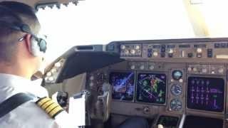 Посадка в а/п Монтего Бэй, Ямайка. Визуальный заход Боинг 747-400 АК Трансаэро.
