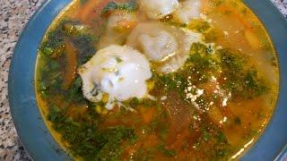 Лёгкий супик с пельменями!