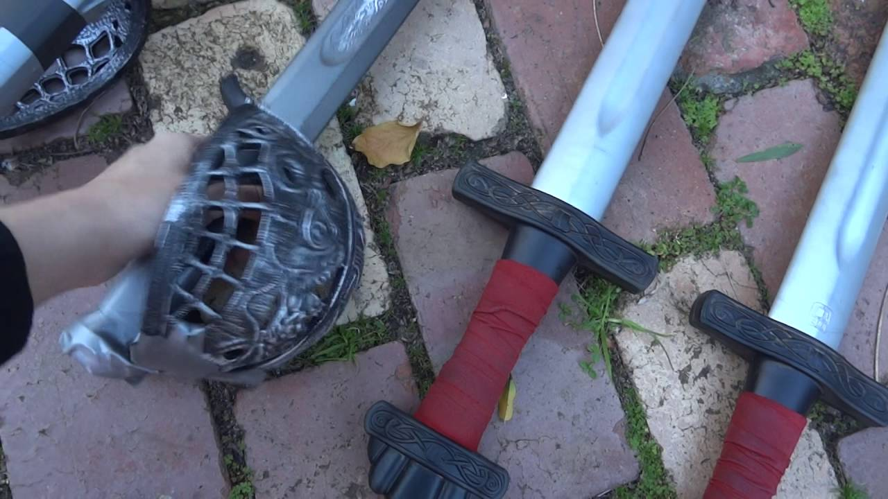 Foam sword, spear, shield, dagger, and axe collection
