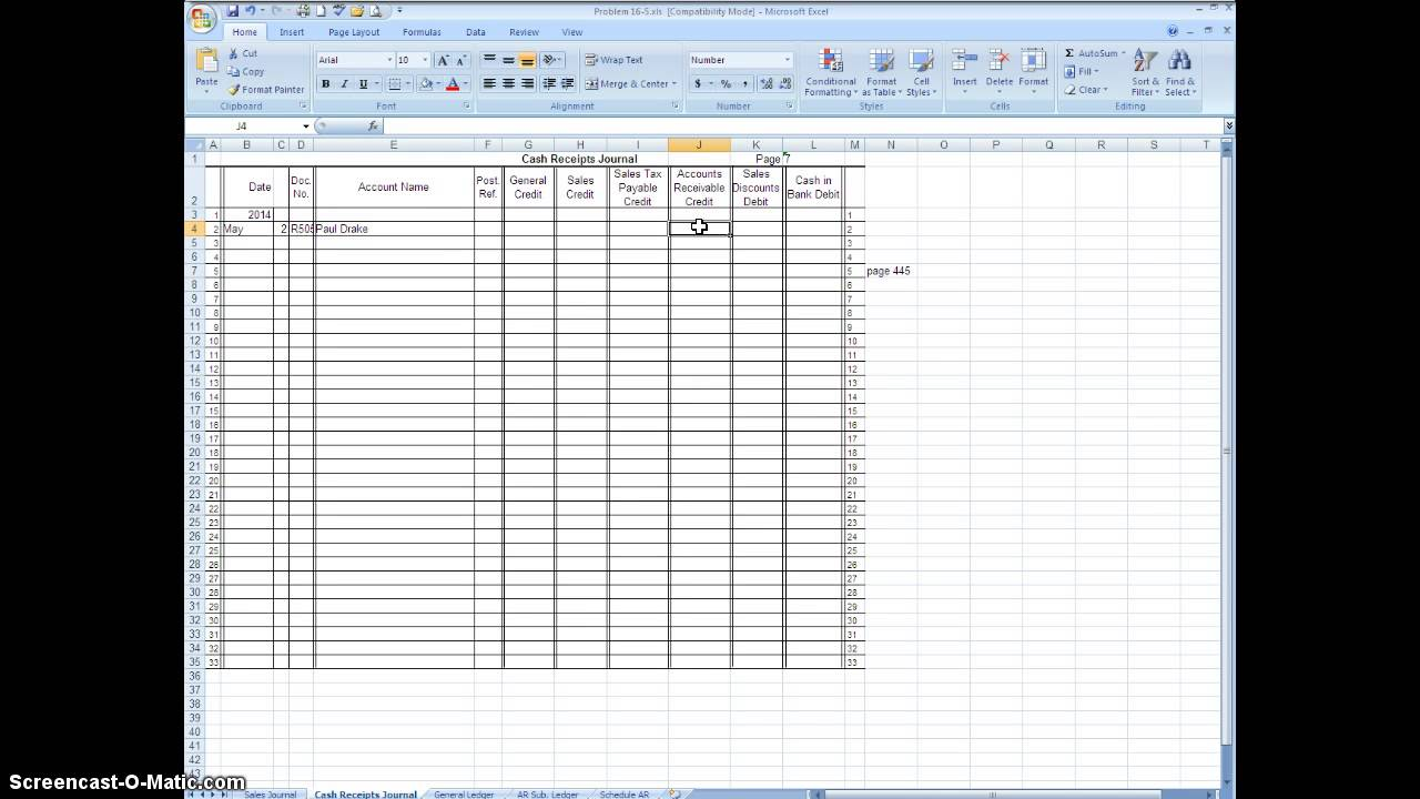 using excel to journalize in the cash receipts journal youtube