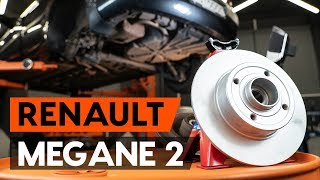 rear left right Brake caliper support bracket change on RENAULT MEGANE II Saloon (LM0/1_) - video instructions