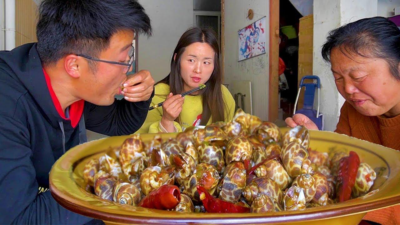 5斤香辣花螺吃一天,大sao给老妈尝尝鲜,没想到海鲜做成了土菜!【徐大sao】